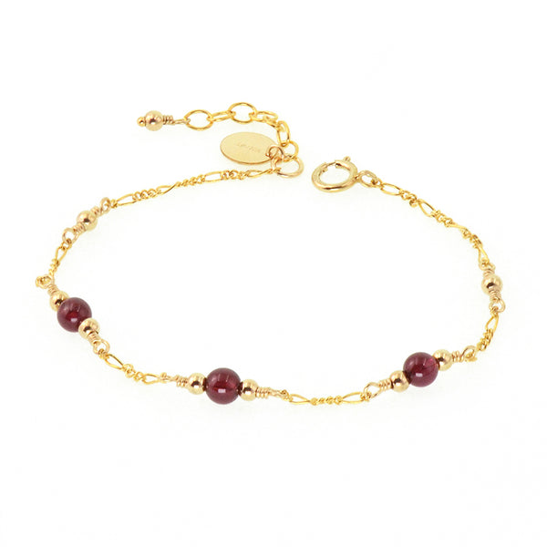 Charm Garnet Beaded Bracelets in 14K Gold Birthstone Jewelry for Women best