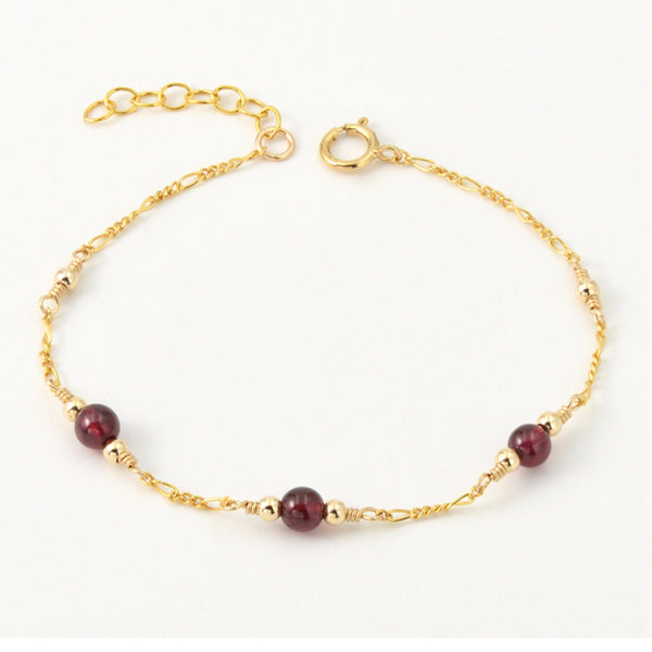Charm Garnet Beaded Bracelets in 14K Gold Birthstone Jewelry for Women cute
