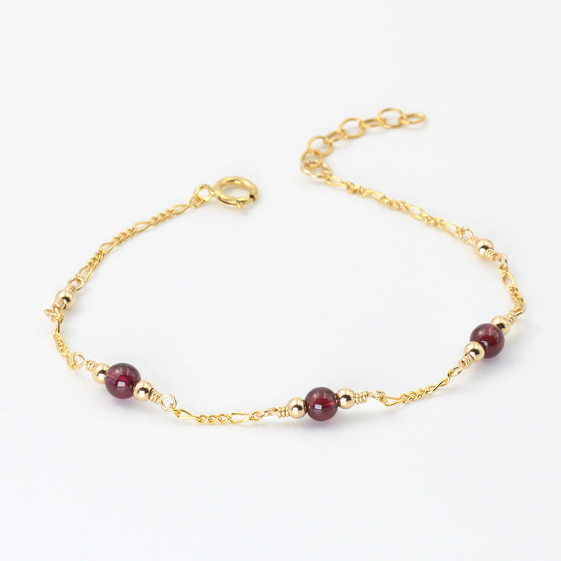 Charm Garnet Beaded Bracelets in 14K Gold