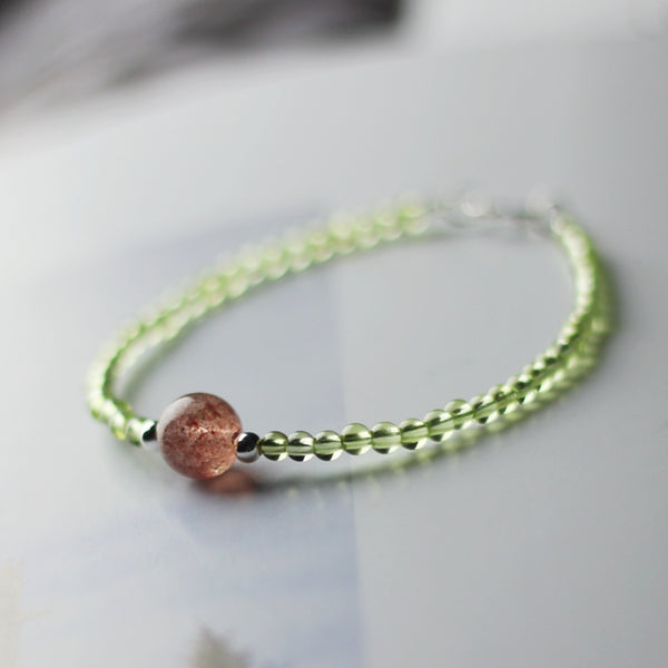 Charm Ladies Peridot and Strawberry Quartz Beaded Sterling Silver Bracelets for Women Affordable