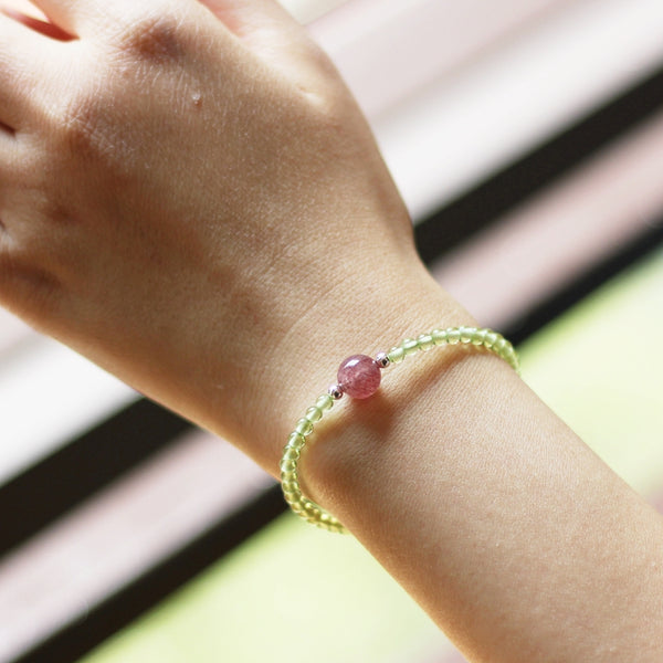 Charm Ladies Peridot and Strawberry Quartz Beaded Sterling Silver Bracelets for Women Beautiful