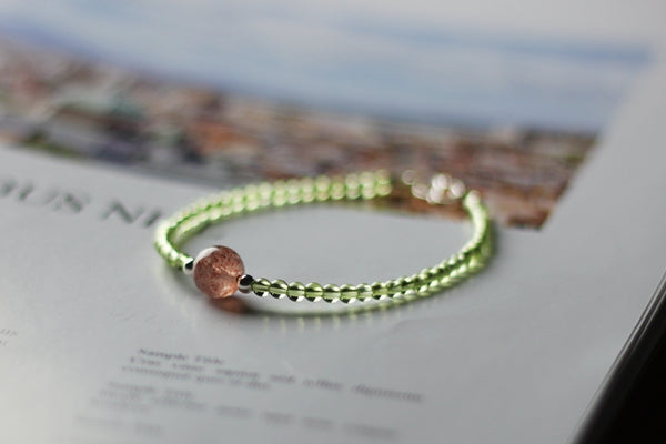 Charm Ladies Peridot and Strawberry Quartz Beaded Sterling Silver Bracelets for Women Chic