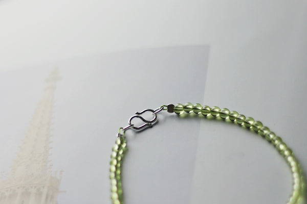 Charm Ladies Peridot and Strawberry Quartz Beaded Sterling Silver Bracelets for Women Cute