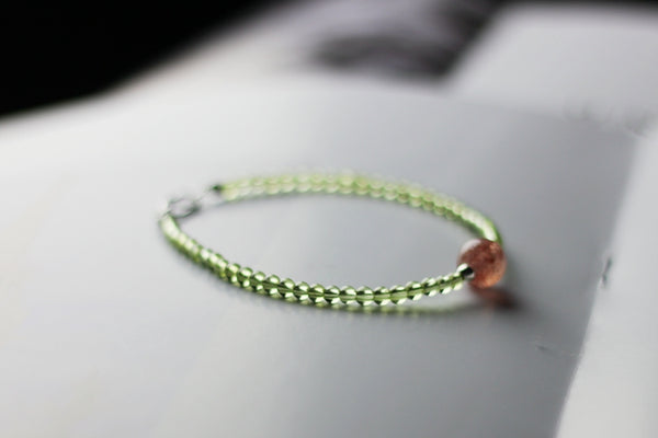 Charm Ladies Peridot and Strawberry Quartz Beaded Sterling Silver Bracelets for Women Details