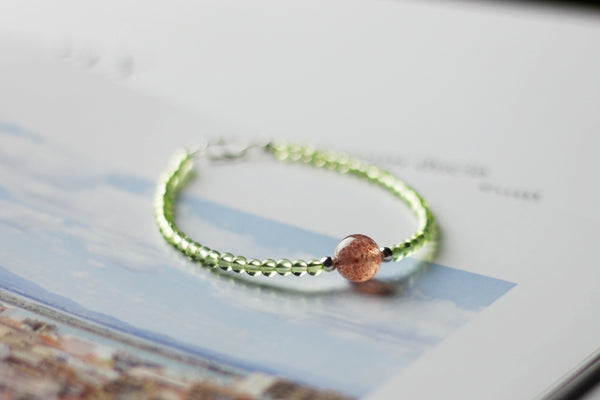 Charm Ladies Peridot and Strawberry Quartz Beaded Sterling Silver Bracelets for Women Quality