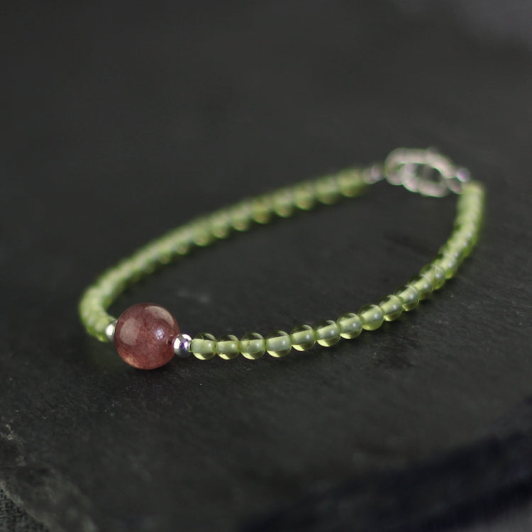 Charm Ladies Peridot and Strawberry Quartz Beaded Sterling Silver Bracelets for Women