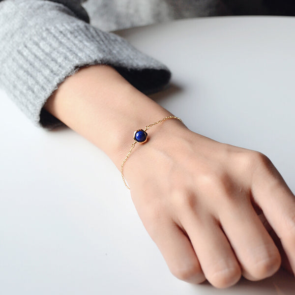 Charm Women's 14K Gold Bracelet Lapis Lazuli Beaded Bracelets for Women Accessories