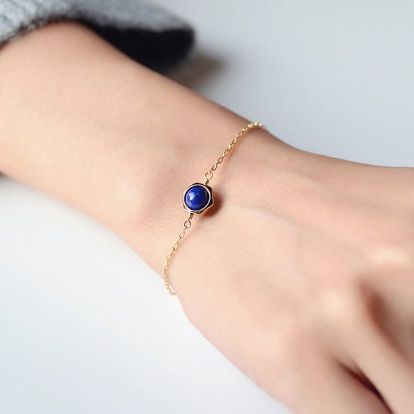 Charm Women's 14K Gold Bracelet Lapis Lazuli Beaded Bracelets for Women beautiful
