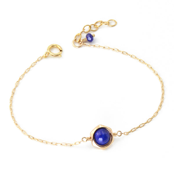 Charm Women's 14K Gold Bracelet Lapis Lazuli Beaded Bracelets for Women best