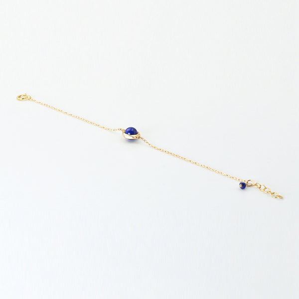 Charm Women's 14K Gold Bracelet Lapis Lazuli Beaded Bracelets for Women chic