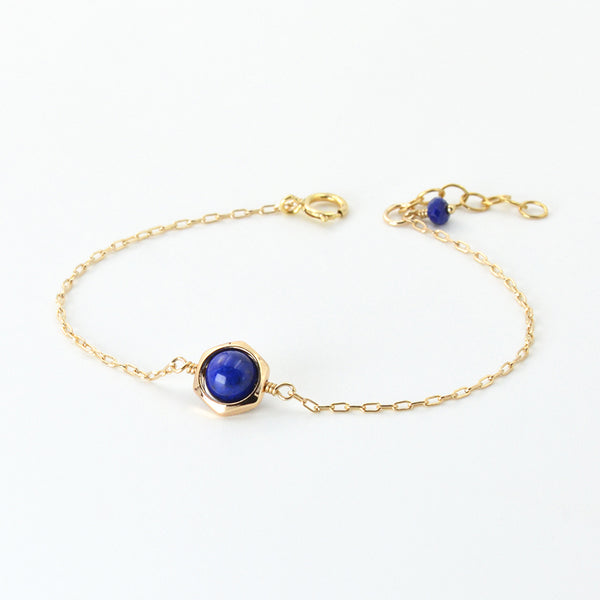 Charm Women 14K Gold Bracelet Lapis Lazuli Beaded Bracelets for Women