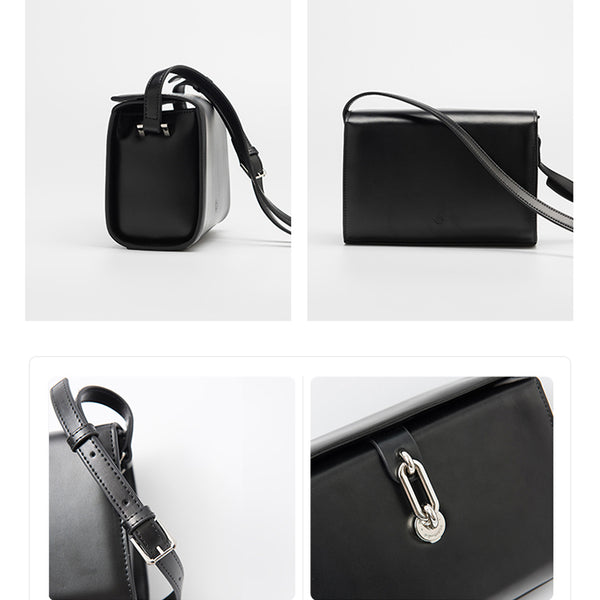 Chic Black Leather Womens Crossbody Bags Purse Shoulder Bag for Women chic