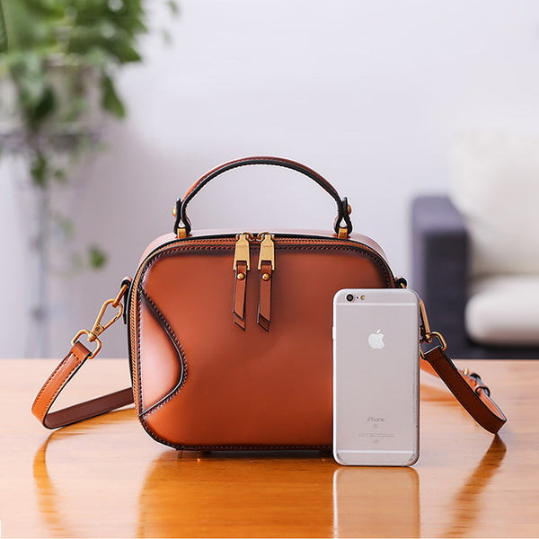 Chic Cube Bag Womens Leather Crossbody Bags Shoulder Bag for Women Brown