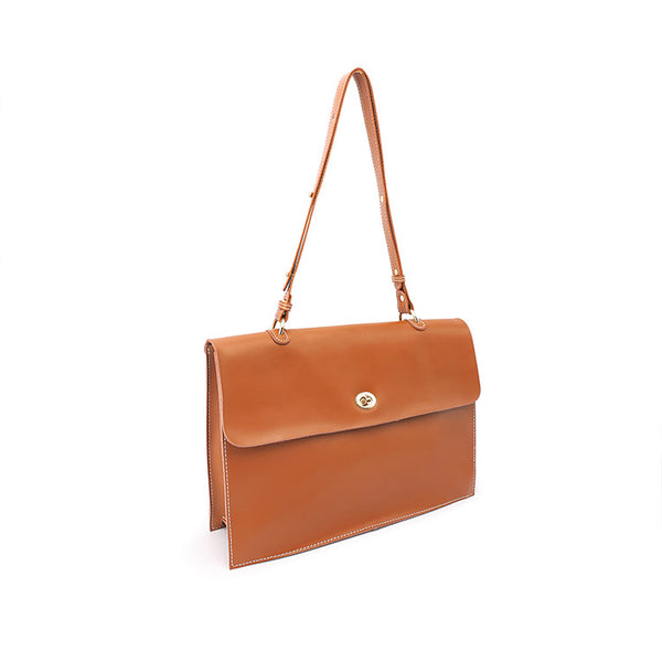 Chic Ladies Brown Leather Handbags Leather Shoulder Bag for Women Genuine Leather