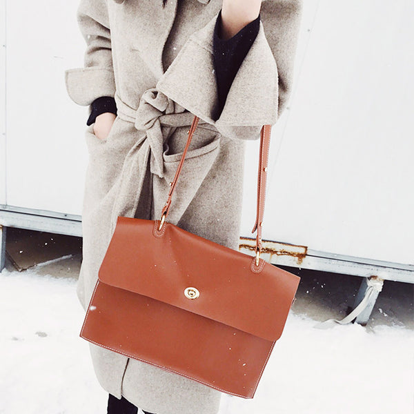 Chic Ladies Brown Leather Handbags Leather Shoulder Bag for Women cool