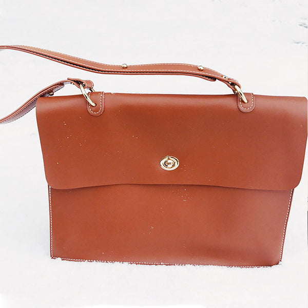 Chic Ladies Brown Leather Handbags Leather Shoulder Bag for Women cute