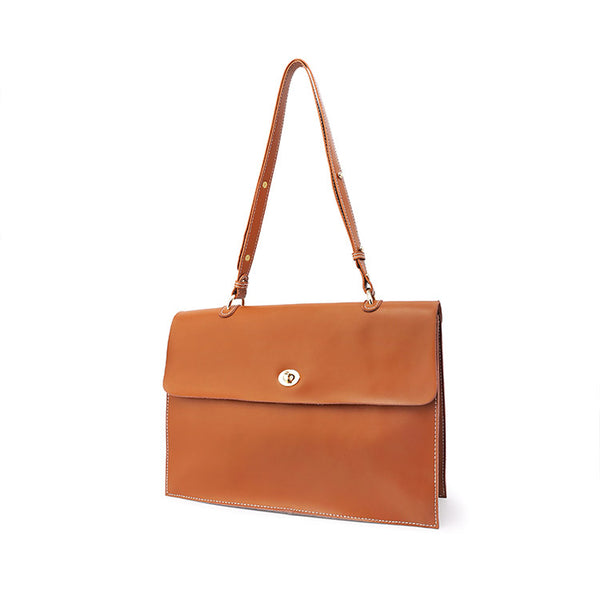 Chic Ladies Brown Leather Handbags Leather Shoulder Bag for Women fashion