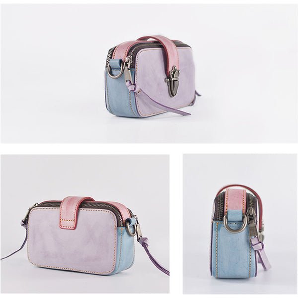 Chic Ladies Small Wax Leather Shoulder Satchel Bags Crossbody Purse for Women Chic
