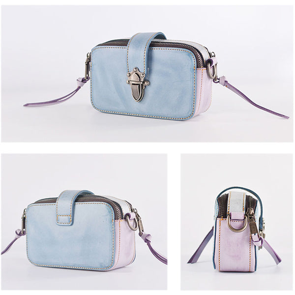 Chic Ladies Small Wax Leather Shoulder Satchel Bags Crossbody Purse for Women Cowhide
