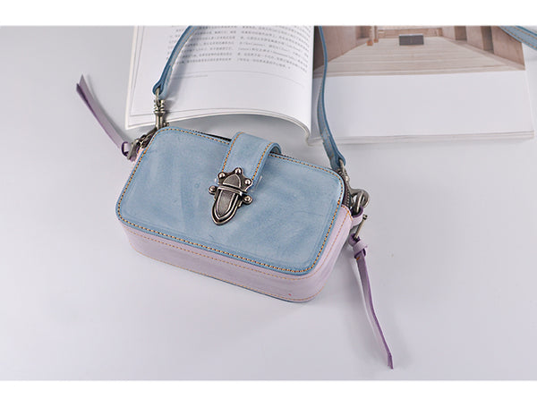 Chic Ladies Small Wax Leather Shoulder Satchel Bags Crossbody Purse for Women Durable