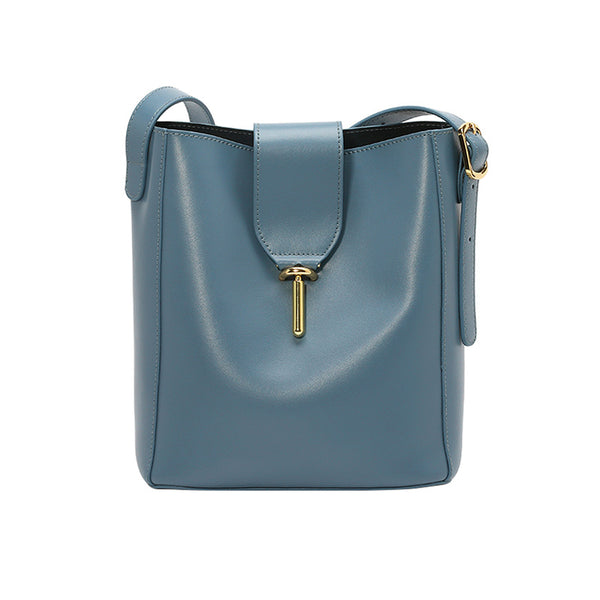 Chic Leather Womens Tote Bag Leather Shoulder Bag Purse for Women Blue