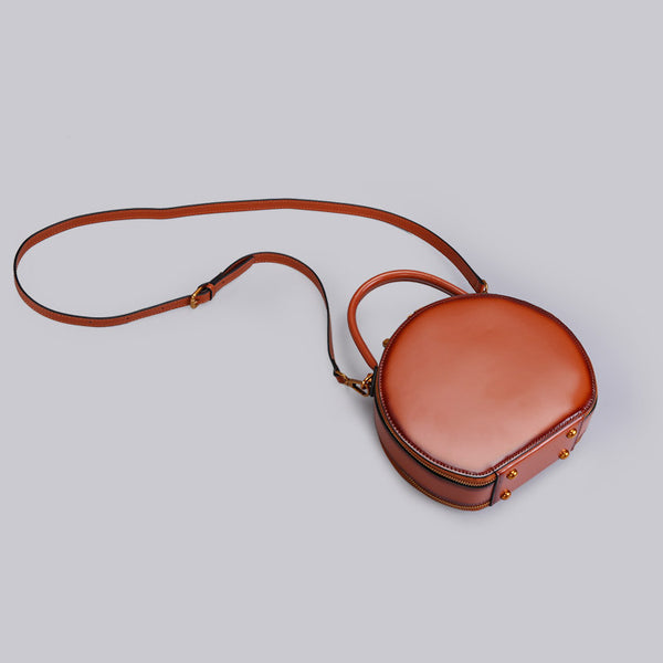 Chic Women Leather Circle Bag Crossbody Bags Handbags Purses for Women Brown