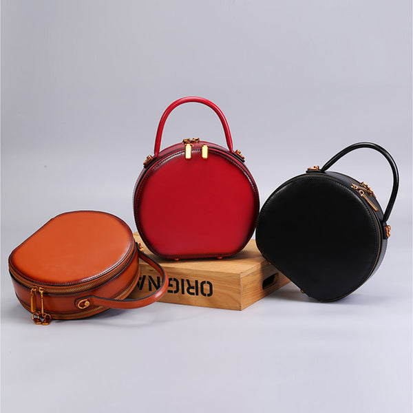 Chic Women Leather Circle Bag Crossbody Bags Handbags Purses for Women Chic