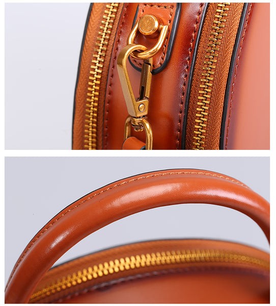 Chic Women Leather Circle Bag Crossbody Bags Handbags Purses for Women Handmade