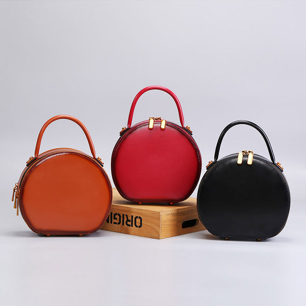 Chic Women Leather Circle Bag Crossbody Bags Handbags Purses for Women black