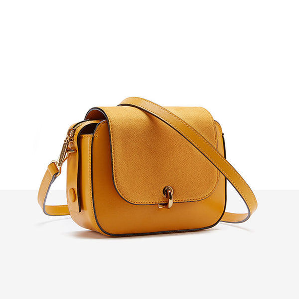 Chic Women Orange Leather Crossbody Bags Shoulder Bag for Women