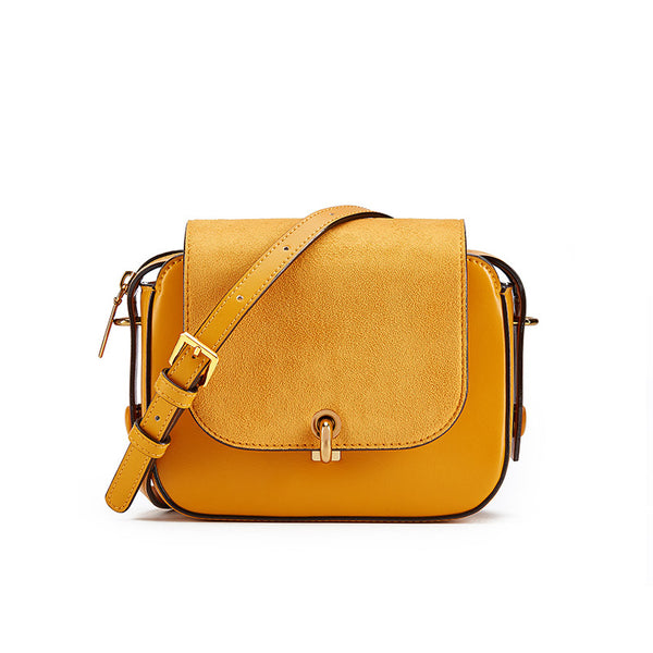 Chic Women Orange Leather Crossbody Bags Shoulder Bag for Women work bag