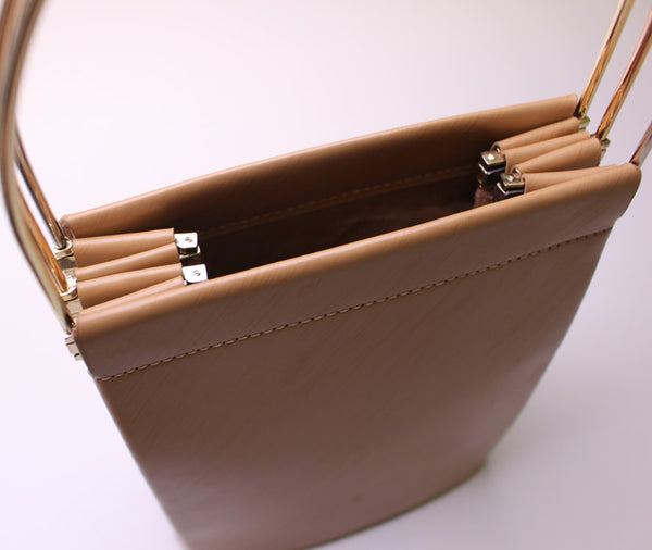 Chic Womens Beige Leather Tote Bag Leather Handbags for Women Minimalist