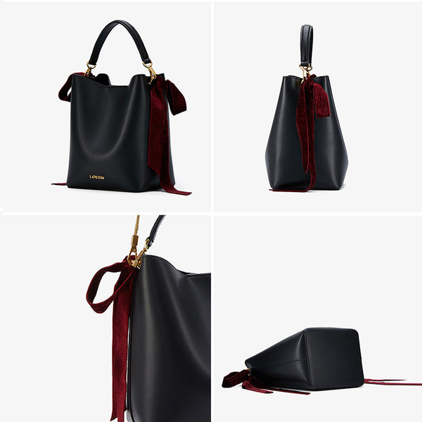 Chic Womens Bucket Bag Leather Handbags Crossbody Bags for Women Handmade