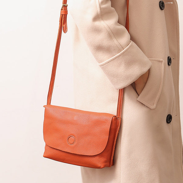 Chic Womens Leather Satchel Bag Small Crossbody Bags Purses for Women Orange