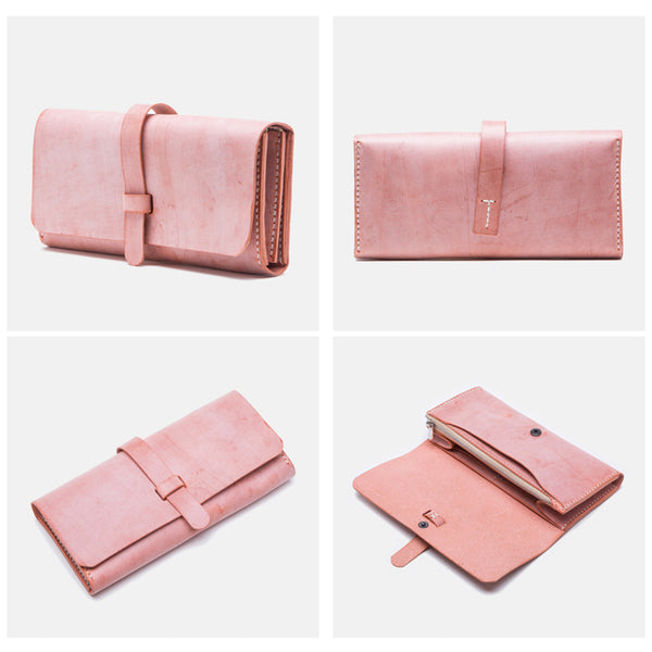 Chic Womens Pink Leather Long Wallets Clutch Bags Purses for Women Designer