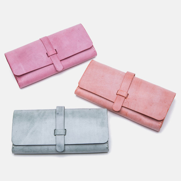 Chic Womens Pink Leather Long Wallets Clutch Bags Purses for Women Genuine Leather