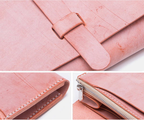 Chic Womens Pink Leather Long Wallets Clutch Bags Purses for Women Minimalist