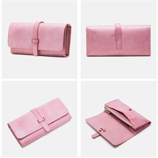 Chic Womens Pink Leather Long Wallets Clutch Bags Purses for Women fashion