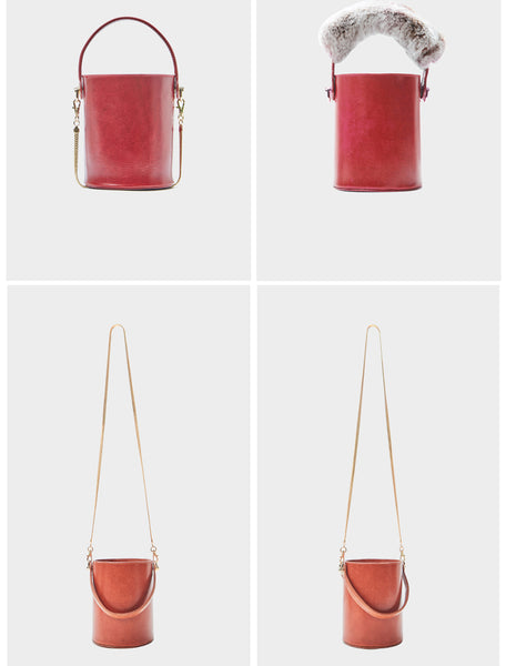 Chic Womens Red Leather Crossbody Bucket Bag Handbags Purse for Women mini