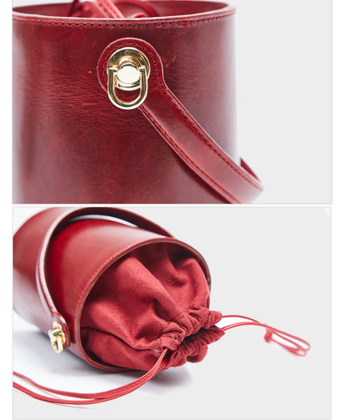 Chic Womens Red Leather Crossbody Bucket Bag Handbags Purse for Women stylish