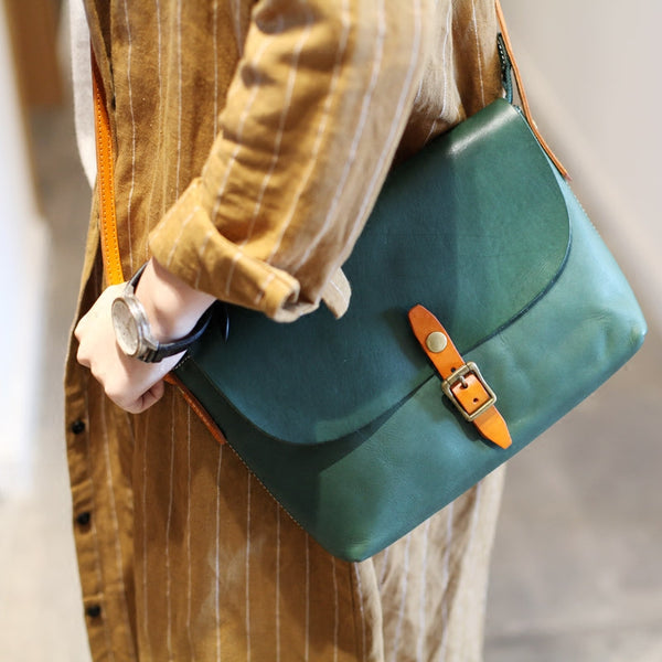 Classic Womens Green Leather Satchel Bag Crossbody Bags Shoulder Bag Accessories
