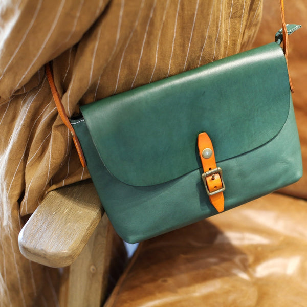 Classic Womens Green Leather Satchel Bag Crossbody Bags Shoulder Bag Unique