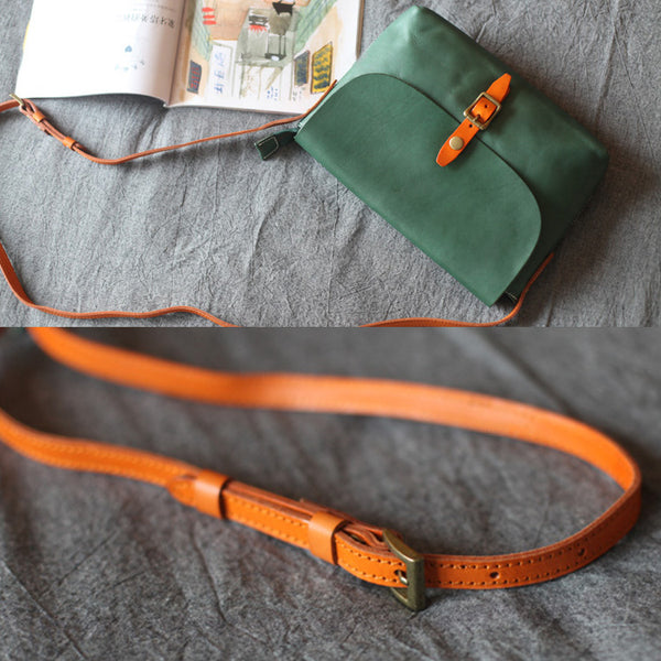 Classic Womens Green Leather Satchel Bag Crossbody Bags Shoulder Bag chic