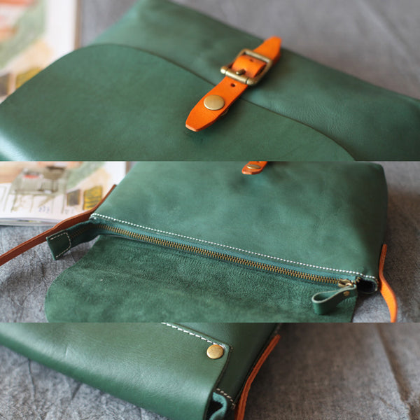 Classic Womens Green Leather Satchel Bag Crossbody Bags Shoulder Bag
