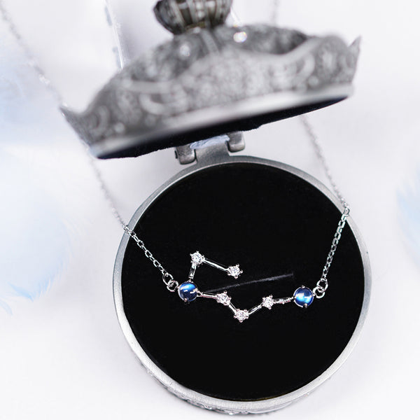 Constellation Moonstone Pendant Necklace Gold Silver Gemstone Jewelry WomenZodiac gift