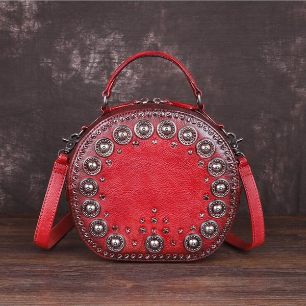 Cool Ladies Rivets Leather Circle Bag Crossbody Purse For Women Accessories