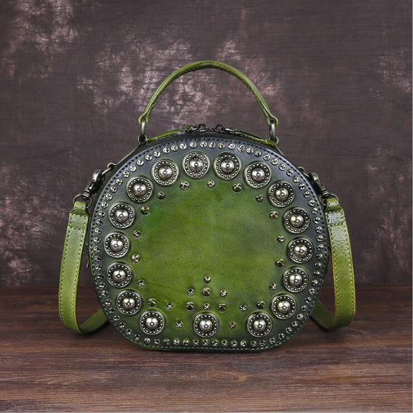 Cool Ladies Rivets Leather Circle Bag Crossbody Purse For Women Affordable
