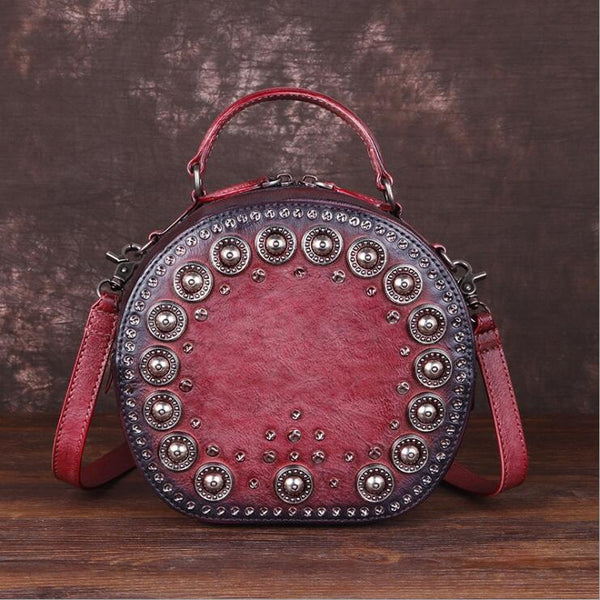 Cool Ladies Rivets Leather Circle Bag Crossbody Purse For Women Beautiful