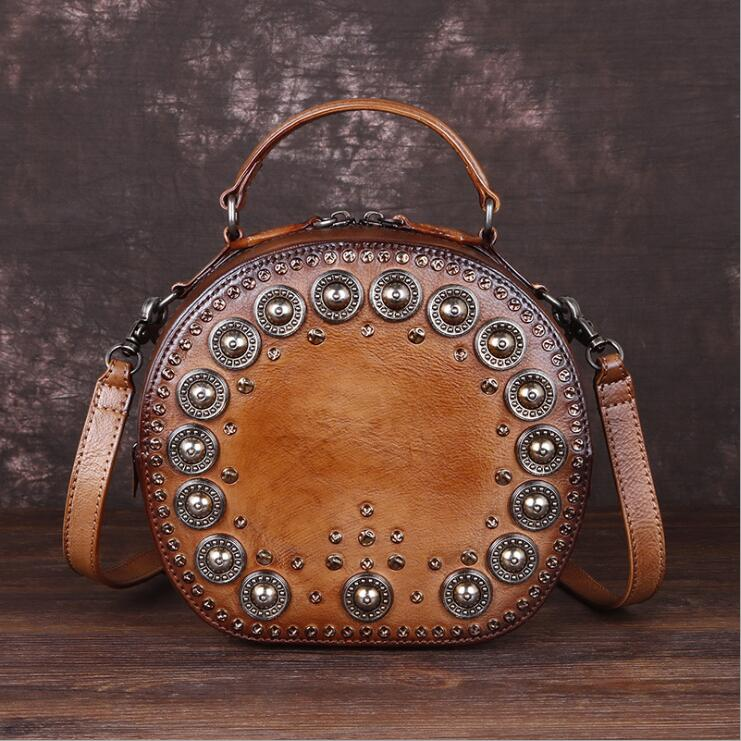 Cool Ladies Rivets Leather Circle Bag Crossbody Purse For Women Best
