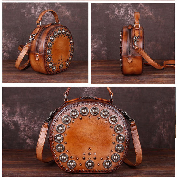 Cool Ladies Rivets Leather Circle Bag Crossbody Purse For Women Brown